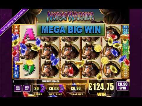 £300 MEGA BIG WIN (333:1) NORSE WARRIOR ™ BIG WIN SLOTS AT JACKPOT PARTY