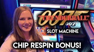 James Bond Thunderball Slot Machine! Gold Chip Re-Spin BONUS!!