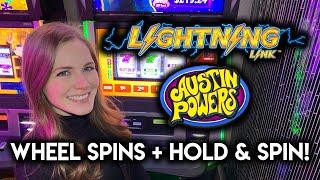 New Austin Powers 3 Reel! Lightning Link Slot Machines! Wheel Spins + Hold & Spins!!
