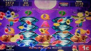Full Moon Diamond Slot Machine Bonus - Mirror Reels Feature - 10 Free Games - Nice Win