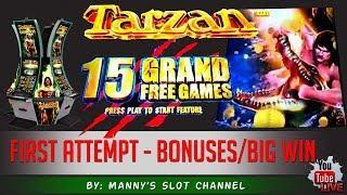 (First Attempt) Aristocrat's - Tarzan Grand : Bonuses / live Play & Big Win!!