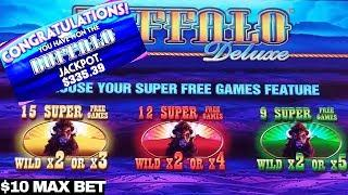 WONDER 4 Buffalo Deluxe Jackpot & SUPER FREE GAMES Won BIG WIN | $10 MAX BET | Live Slot Play w/NG