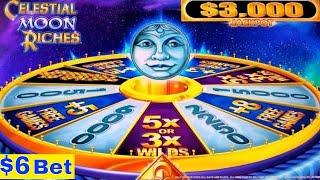 •New Konami Slot•Celestial Moon Riches Slot Machine $6 Bet Bonuses Won ! First Attempt/Live Play