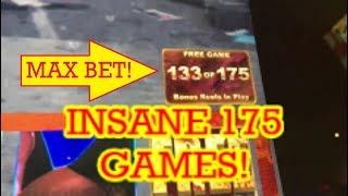 YOUTUBE RECORD 175 FREE SPINS WALKING DEAD SLOT MACHINE!  MAX BET!