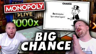Monopoly Live 8x Multiplier into a 2 Rolls Big win