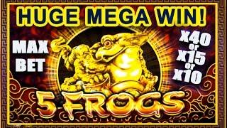 *HUGE MEGA WIN* - FIVE FROGS SLOT - MAX BET BONUS +SUPER GAMES|RETRIGGER! - Slot Machine Bonus