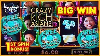 1st SPIN BONUS & RETRIGGER! Crazy Rich Asians Slot - BIG WIN SESSION!