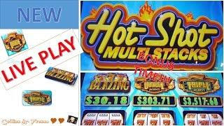 •SHINY & NEW• LIVE PLAY Bally's HOTSHOT MULTI-STACK | Slot Machine Bonus | MAX BET