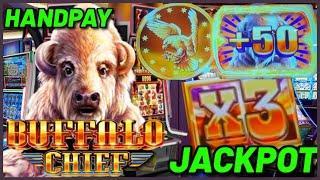 HANDPAY JACKPOT on Buffalo Chief HIGH LIMIT $36 Bonus Round Slot Machine Casino