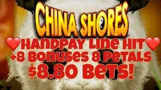 •️ Handpay Jackpot •️ China Shores High Limit Line Hit + 8 Petals Slot Machine Bonuses Casino Pokies
