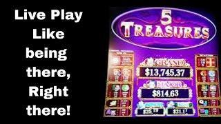 HUGE Free Game Bonus WIN --5 Treasures- FREE GAMES MAX BET