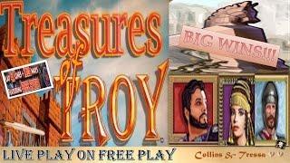•LIVE PLAY on FREE PLAY• IGT Treasures of Troy MAX BET • Slot Machine Bonuses •BIG WINS•