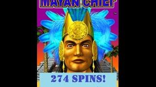 274 FREE SPINS! MAX BET MAYAN CHIEF SLOT MACHINE!