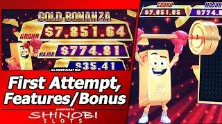 Gold Bonanza: Happy Piggy Slot - First Attempt w/Live Play, Hold and Spin, and Free Games