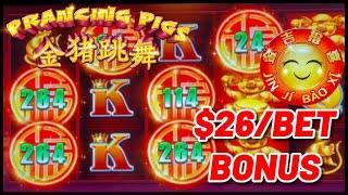 ⋆ Slots ⋆️NEW SLOT ⋆ Slots ⋆️Prancing Pigs Jin Ji Bao Xi HIGH LIMIT $26 Bonus Round Slot Machine