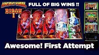 BIG WINS! - FIRST ATTEMPT - ANCIENT WHEEL - BIG 5 / BISON 2-  6 Bonuses and Line Hit