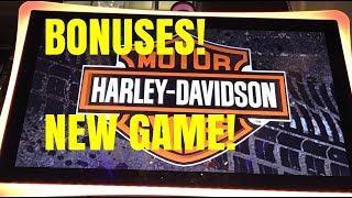 NEW GAME! HARLEY DAVIDSON SLOT MACHINE BONUSES