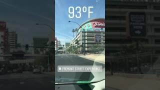Arriving in Downtown Las Vegas from I-15 on Warm Summer Morning