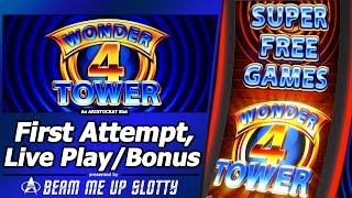 Wonder 4 Tower Slot - Live Play with Free Games and Super Free Games bonus