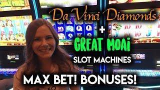 Max Bet BONUS Great Moai and DaVinci Diamonds Slot Machines! Gambling Fun!