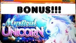 BIG WIN G+ Deluxe Mystical Unicorn WMS slot machine bonus Mirage LV