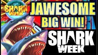 •JAWESOME BIG WIN!• $4.00 MAX BET! SHARK WEEK - JAWS OF STEEL  Slot Machine Bonus (EVERI)