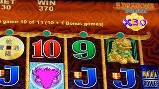 Aristocrat's 5 Dragons Deluxe Slot Machine - Nice Bonus Win Using Mystery Spins!