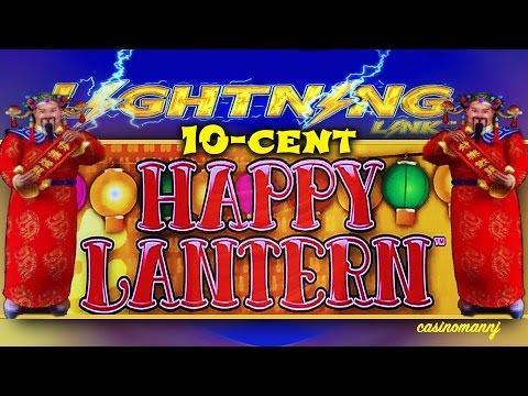 10¢ LIGHTNING LINK SLOT - **HAPPY LANTERN SLOT** - Big Win Features - Slot Machine Bonus