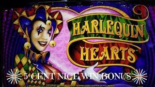 HARLEQUIN HEARTS SLOT MACHINE - 5-Cent Denomination - CLASSIC ARISTOCRAT -  BONUS