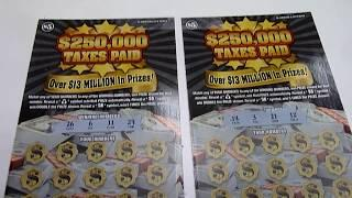 Playing TWO $5 Instant Lottery Scratch Off Tickets - $250,000 Jackpot