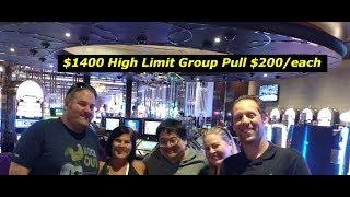 Part 1 $1400 High Limit Group Pull with Friends High Limit action at the Cosmopolitan slot machine