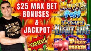 High Limit Huff n Puff Slot Machine Max Bet HANDPAY JACKPOT   High Limit Lock It Link Slots Bonuses