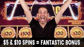 • $5-$10 Spins = Fantastic BONUS • Dancing Drums EXPLOSION!!!