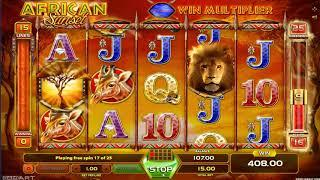 African Sunset casino slots - 554 win!