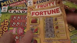 Bank Holiday Scratchcard game £42.00..FRUITY FORTUNE..CASH MILLIONS..MONOPOLY..TRIPLE PAYOUT.