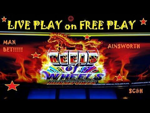 *NEW* Ainsworth Reels of Wheels Horsepower | LIVE PLAY on FREE PLAY | MAX BET | Slot Machine Bonus