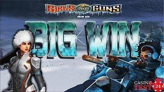 BIG WIN on Girls with Guns II Slot (Microgaming) - Frozen Wilds Free Spins - 2,10€ BET!