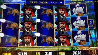 High Limit • CARIBBEAN GOLD $1 Slot - Bet $5/ Dollar Storm @ San Manuel Casino 赤富士スロット, カリフォルニア カジノ