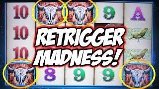 RETRIGGER MADNESS!  LONGEST.  BONUS.  EVER! - Double Buffalo Spirit Slot Machine BIG WIN Bonus