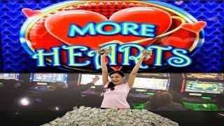 $404,000 Thousand Dollar Win W/O Bonus!!! Casino Video Slot Max Bet 10 More Hearts, Hearts Of Venice