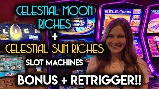 Celestial SUN and MOON Riches Slot Machines! BONUS + Retrigger!!