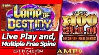 Lamp of Destiny Slot - Live Play and 8 Free Spins Bonuses
