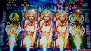 Tiger Woman Slot Machine Bonus - 7 Free Games with Stacked Wilds - BIG WIN (#2)