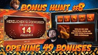 BONUS HUNT #8 - OPENING 49 SLOT BONUSES LIVE ON STREAM! - BIG WINS?