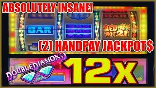 HIGH LIMIT Double Diamond Red Hot 21 2 HANDPAY JACKPOTS  ★ Slots ★ $50 SPINS ONLY EPIC COMEBACK Slot