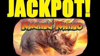 ★☆ JACKPOT!! RAGING RHINO SLOT MACHINE BONUS CAUGHT LIVE!! Slot Machine Bonus Huge Win! (DProxima)