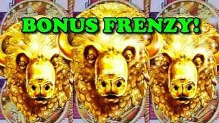 BUFFALO GOLD * BONUS FRENZY * 15 Minutes of ALL Buffalo Gold Slot / Pokie Wins!