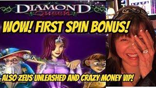 HIGH LIMIT-FIRST SPIN DIAMOND QUEEN BONUS AND MORE