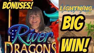 BIG WIN-Lightning Link Gold Sahara and River Dragons Bonuses.