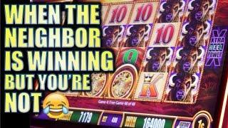 WHEN THE NEIGHBOR IS WINNING ON BUFFALO•BUT YOU'RE NOT! • | SLOT MACHINE BONUS BIG WINS!